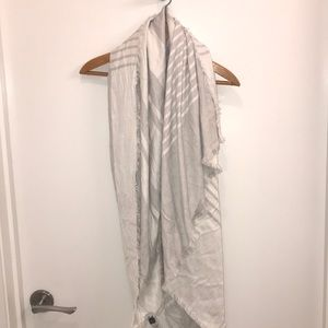 White and Gray Striped Ann Taylor Scarf